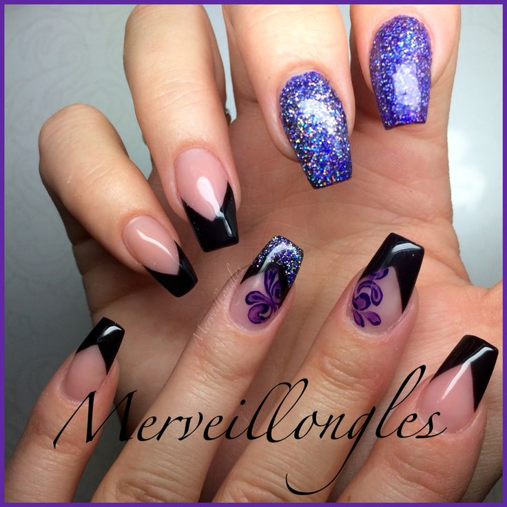 French glitter violet peinture faux ongles gel uv
