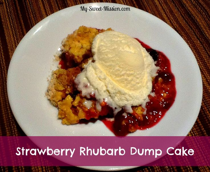 Rhubarb Dump Cake 1 lb rhubarb, cut into 1/4 inch pieces (between 3 & 4 C) 1 C sugar 1 (3 oz pck) strawberry Jell-O; 1 pkg yellow cake mix; 1 C H2o 1/4 C butter, melted oven 350 9x13 greased dish. Spread rhubarb in bottom. Sprinkle sugar, then Jello over rhubarb & cake mix. Pour water & melted butter over top. Do not stir. Bake 45 min.