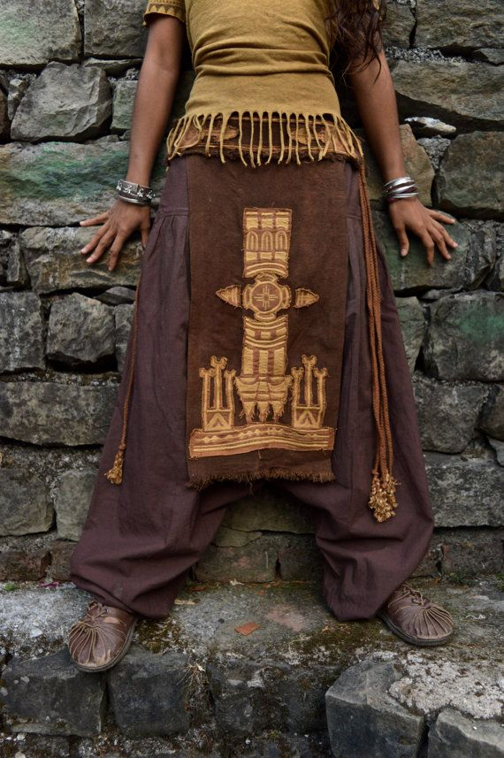 Unique Gift for Her Native American style Tribal Panel Unisex Linen Embroidery skirt Earthy Natural