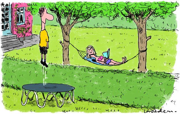 Trampolin i haven