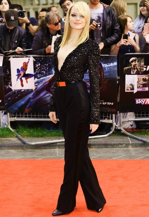 emma stone at Spiderman premiere