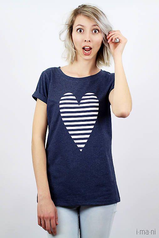 Dámske tričko modré melírové PRÚŽKOVANÁ