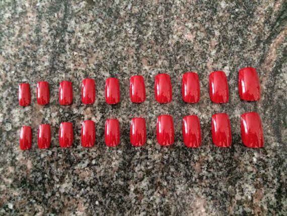 Set of long red fake nails acrylic nails red press by nailsbykate