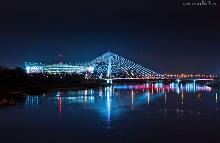 Stadion Narodowy,Most Świętokrzyski, Wisła, Warszawa, Polska