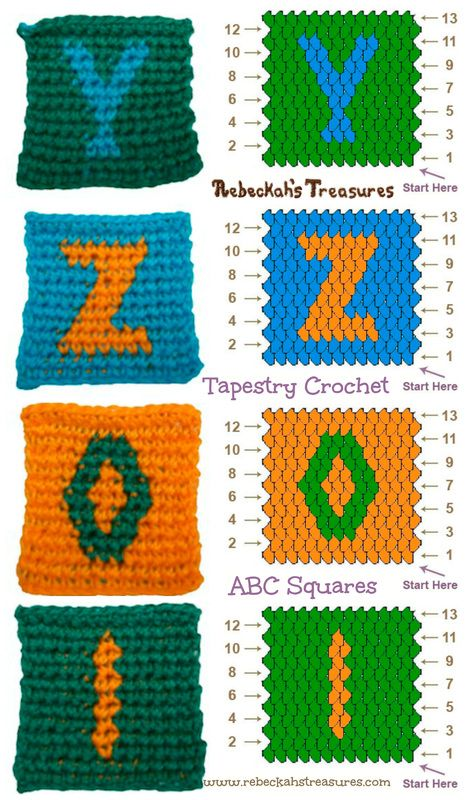 Letters Y-Z and Numbers 0-1 Tapestry Crochet Graph Patterns via @beckastreasures