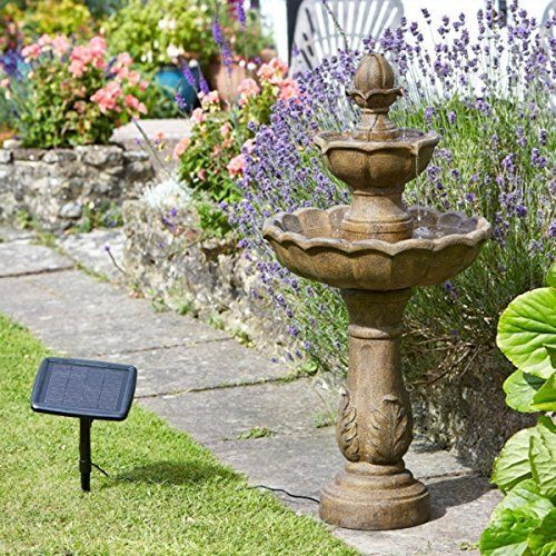 Good Small Solar Powered Water Feature Stone Effect Resin Two Tier Cascade  Classic Fountain PC608