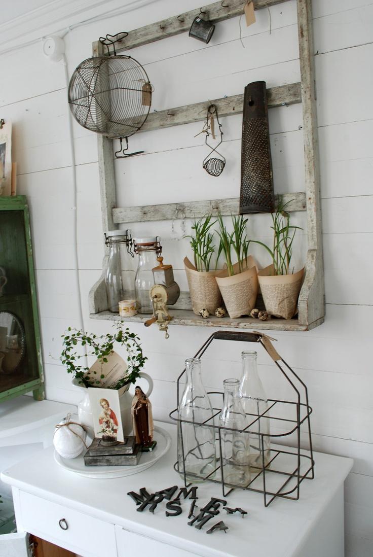#vintage #outdoor #decor #paper pots #shelf