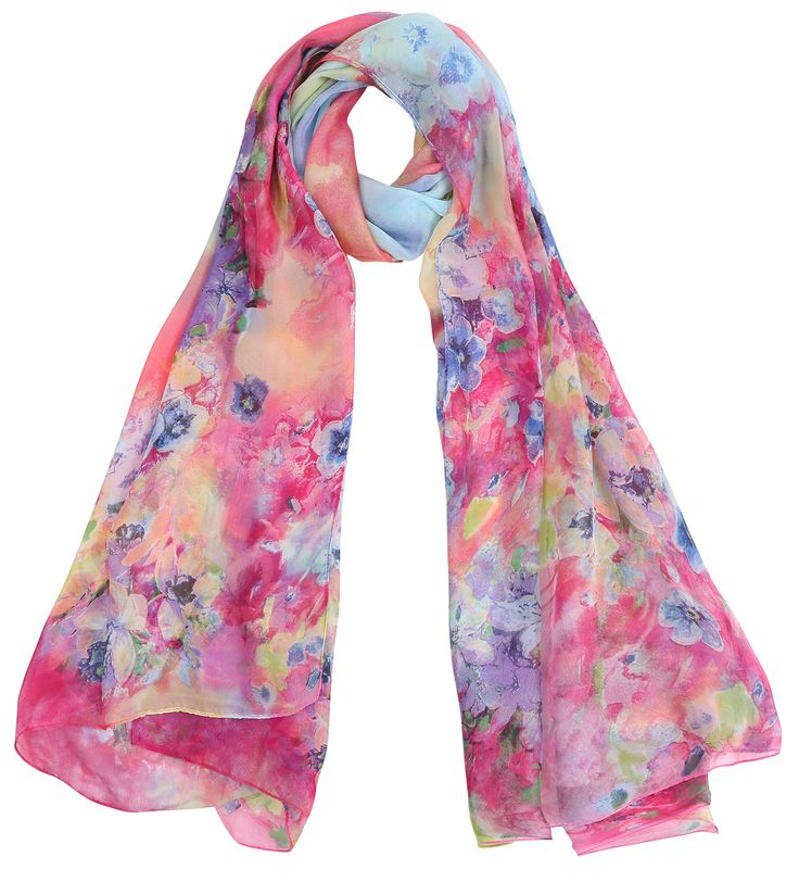 Simplicity Women's Silk Chiffon Scarf Colorful Abstract Art Scarves Wrap, 6