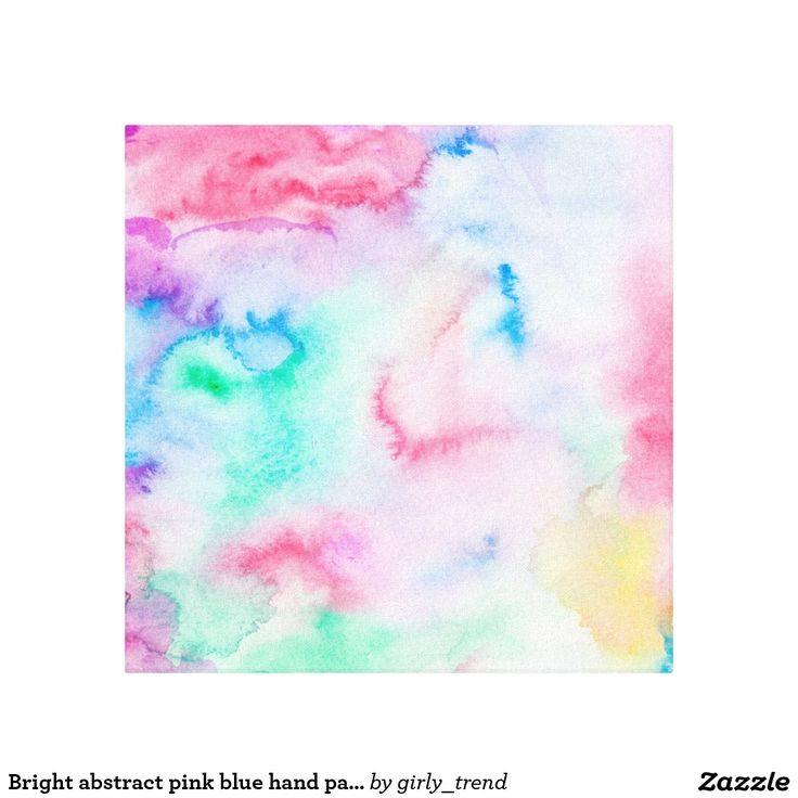 Bright abstract pink blue hand painted watercolor canvas print