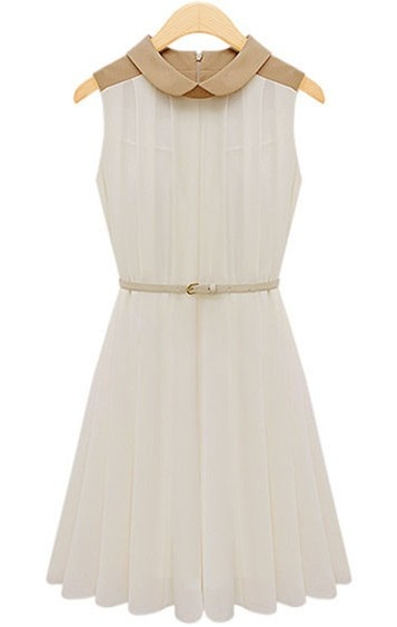 Apricot Sleeveless Belt Pleated Chiffon Dress