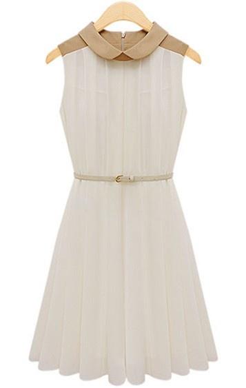 Apricot Sleeveless Belt Pleated Chiffon Dress