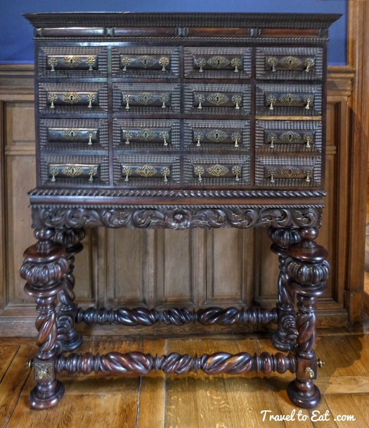 Cabinet on Stand, Kings Chamber (Portugal) 17th Century. Château D'Azay Le Rideau. Loire Valley, France