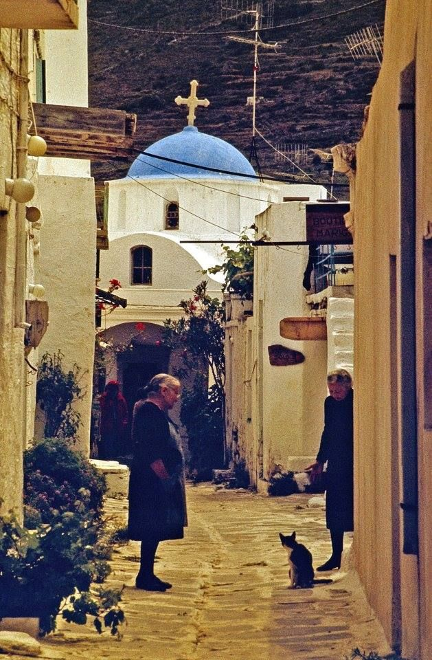 This picture in 1970 is located in Paroikia, Paros, #Greece...Same city as #PelagosStudios come visit!  #Island #Travel #Beauty #Vacation
