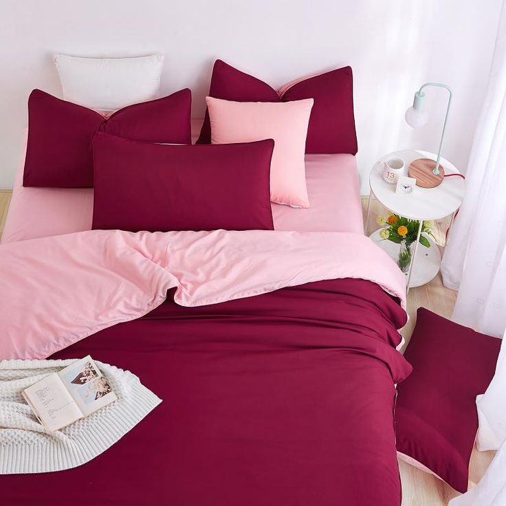 2017 New Minimalist Bedding Sets Red Wine Color Duver Quilt Cover Bed Sheet Beige Pillowcase Soft Comfortable King Queen Full