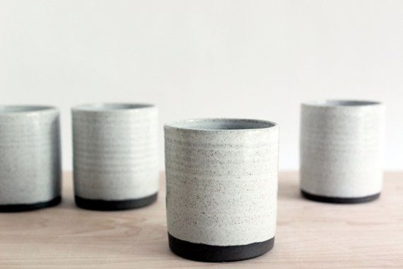 Modern ceramic pottery cups wheel thrown brown by juliapaulpottery