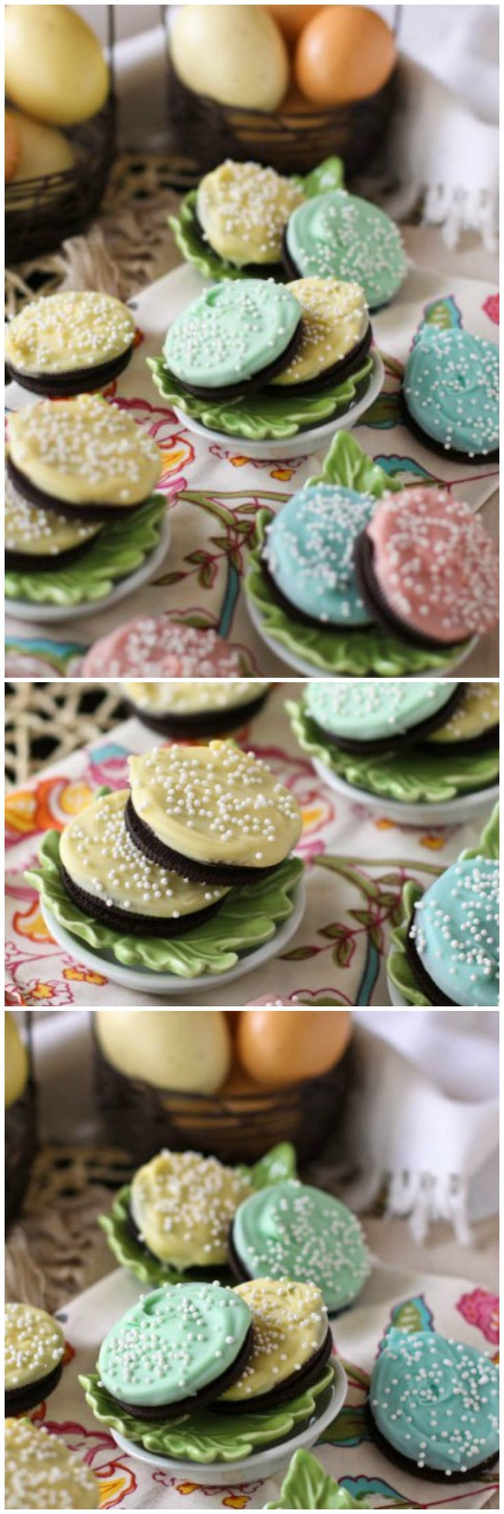 White Fudge Dipped Easter Oreos, so simple and festive :)