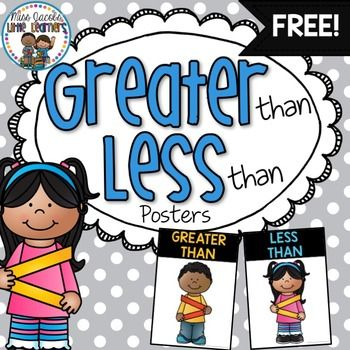 Greater Than Less Than Posters - FREE from Miss Jacobs Little Learners