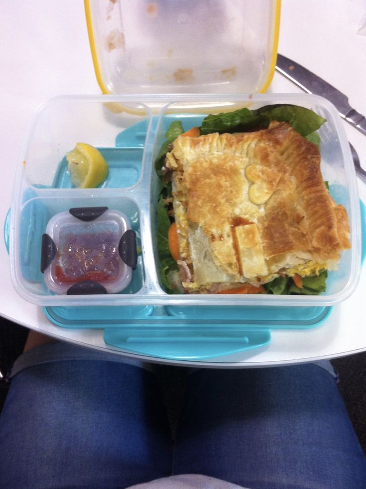 Easy bacon and egg pie is portable! seen here on salad in my lunchbox :) heat in microwave at uni