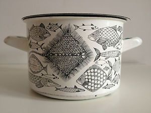 RETRO VINTAGE FINEL FINLAND ENAMEL FISH POT PAN