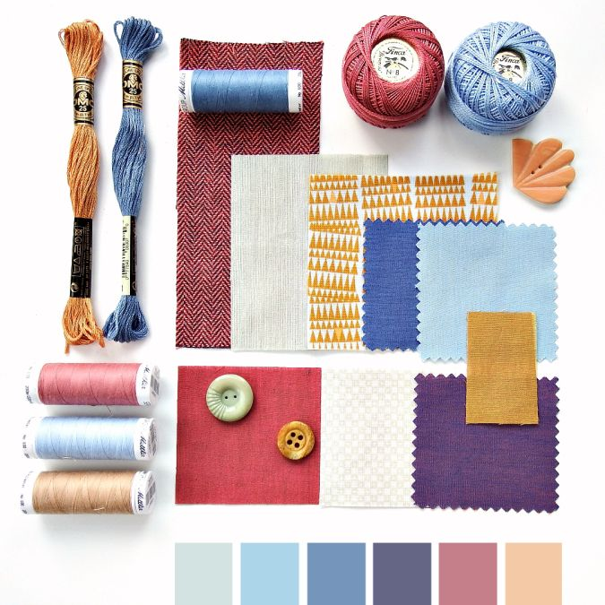 Color curated moodboard by Very Berry for #the100dayproject - blue pink mustard peach