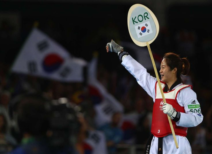 Victory sign:    Hyeri Oh of South Korea celebrates winning the Women's Taekwondo -67kg Gold Medal Contest match at the Rio 2016 Olympic Games on August 19.