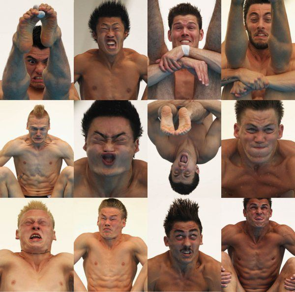 Faces of Olympic Divers, Mid-Dive. Yes, all these divers need a home. I guess no one thinks they're cute enough to adopt.. Sports, dive, olympics, funny faces, Diver, divers