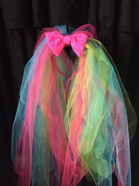 Bachelorette party veil 80's veil bright pink veil by TheTwirl