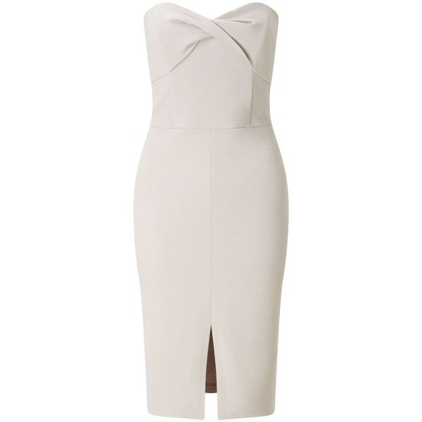 Miss Selfridge Silver Twist Bandeau Dress (€49) ❤ liked on Polyvore featuring dresses, silver metallic, women, body conscious dress, bandeau bodycon dress, miss selfridge, silver dress and body con dresses
