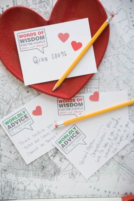 Modern Guest Book Cards:  Instead of a guest book, have guests write advice, wisdom and well-wishes on cards for the bride and groom to keep.