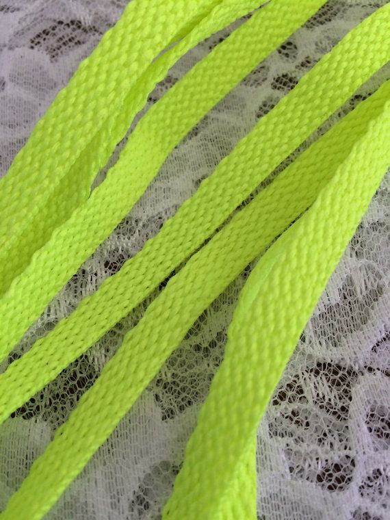 Neon Yellow Shoe Laces Bright Yellow Tennis by EllieMarieDesigns