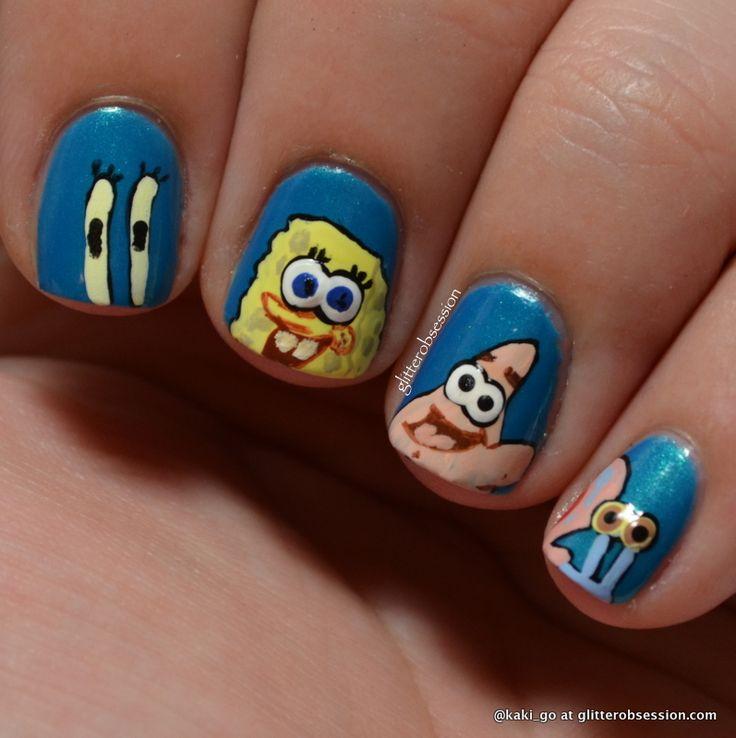 sparkly nails art | Summer Challenge: Favorite Underwater Animal / Spongebob Nail Art