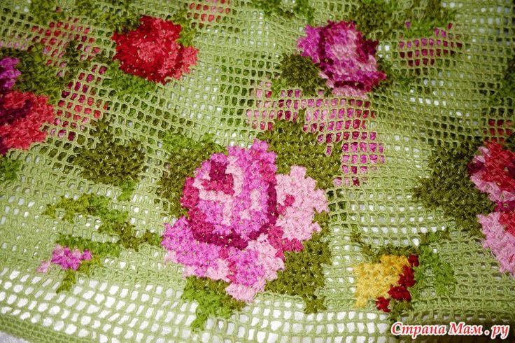 """Сарафанчик """" Розы"""" - филейная сетка и вышивка крестиком"""