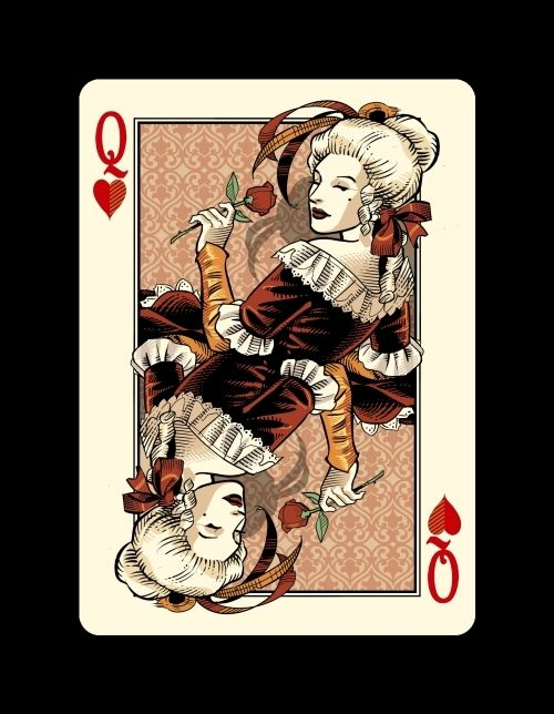 """Queen of Hearts -Bicycle """"Venexiana"""" deck of playing cards by Half Moon Playing Cards"""