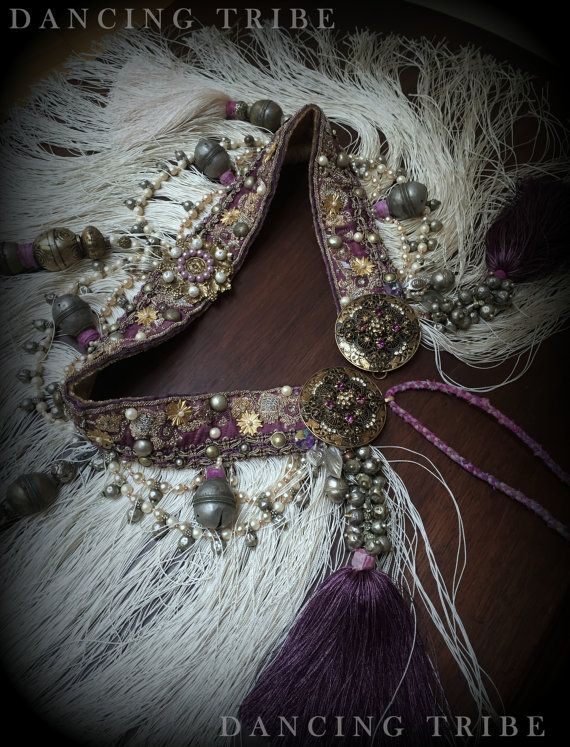 Tribal Fusion Belt with Fringe and Tassels Tribal Belly Dance Belt Cream Purple Mauve Gold Pearl Fringe Belt Hip Scarf Tribal Fusion Costume