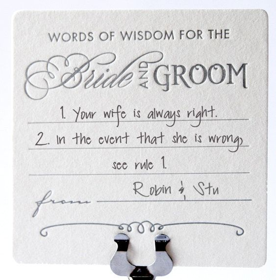 Wedding Table Decor Decoration Fun Coasters Advice For The Bride And Groom Letterpress Guest Book Alternative X6 Taylor