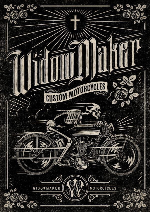 Widow Maker Motorcycles via Behance. Have I pinned this already? #poster #typography #illustration