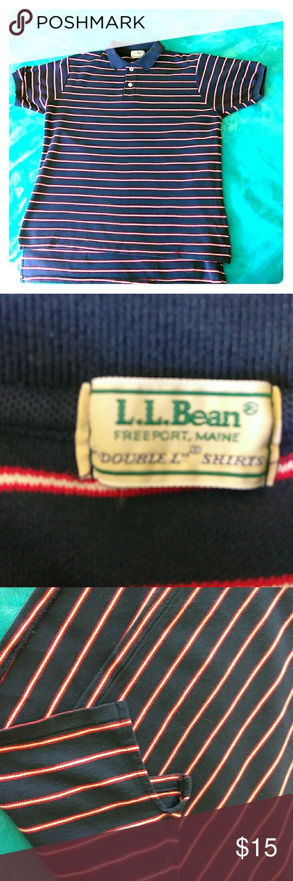 L.L. Bean 100% Cotton Polo Shirt L.L. Bean 100% Cotton Polo Shirt. Navy blue with thin red and white stripes. Two buttons on the front. Size extra large. L.L. Bean Shirts Polos