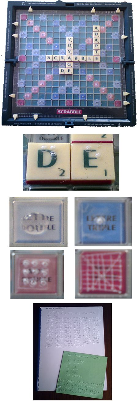 Scrabble with Braille.  Repin from Site enfant-aveugle.                                                                                                                                                                                 Plus