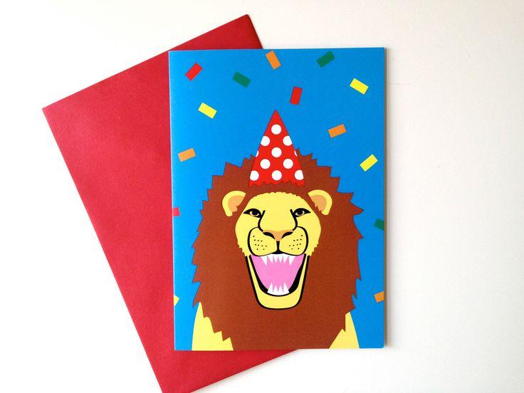 Lion Birthday card, Party Animal card, lion party hat confetti card, fun birthday party card, fun animal card, happy lion illustration card by helloDODOshop on Etsy https://www.etsy.com/listing/243090419/lion-birthday-card-party-animal-card