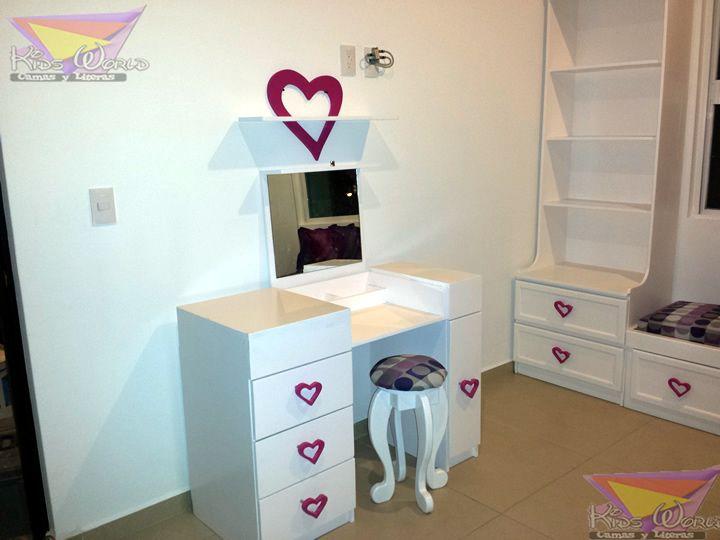 Muebles Tocador Espejo Escritorio Tocador Espejo Para Maquillaje - Tocador-madera-nia