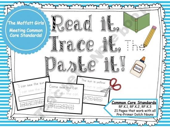 Sight Word Read it, Trace it, Paste it (Pre-Primer) product from TheMoffattGirls on TeachersNotebook.com
