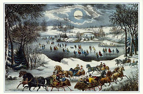 farm scene Xmas Cards currier and ives winter scene | Currier and Ives - Central Park