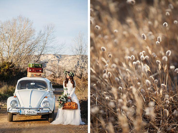 Sesión de inspiración nupcial. Fotografía de bodas al aire libre.