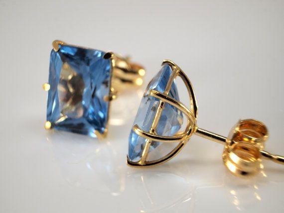 18k Sky Blue Topaz Earrings Studs for Pierced by BelmontandBellamy
