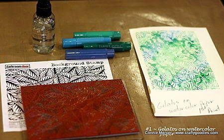Stamping with Gelatos and Darkroom Door Background Stamps!