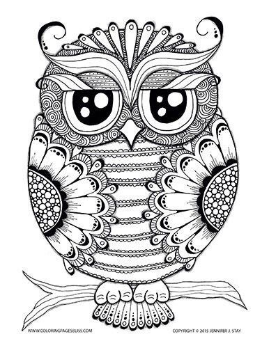 Owl Coloring Page Pages For Adults And Grown Ups Stress Relief Coping With Pain Over 100 Printable To Fill