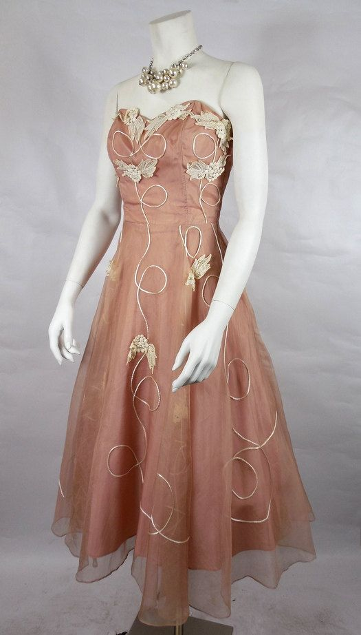 1950's Strapless Organza Dress
