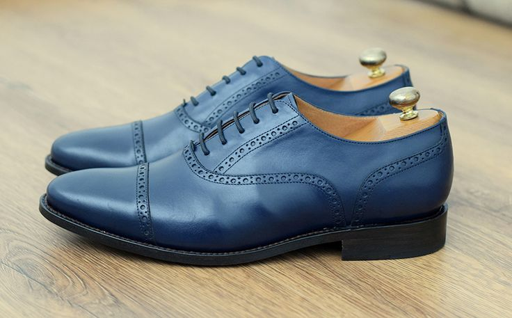 Pantofi Oxford Cap Toe Brogue Bleumarin