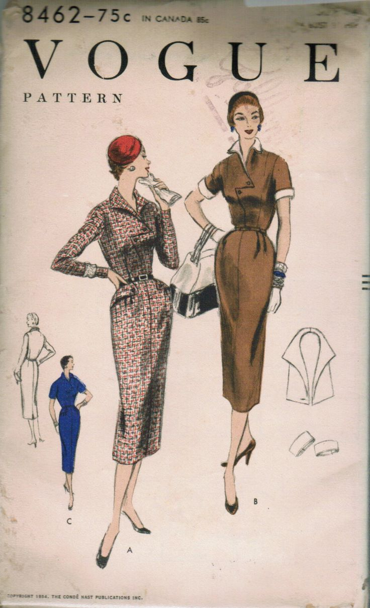 """""""V8462 1954 Slim skirt with or without shaped front peplum joins the bodice at waistline"""""""
