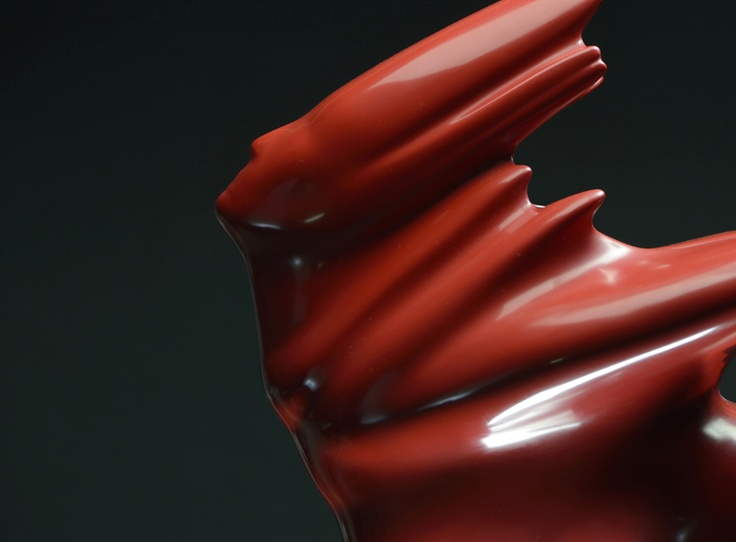 "Andre Stead's Illumination sculpture in sexy red!    ""Red Illumination"", Resin M/6,200 x 50 x 80  cm. SOLD"
